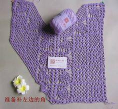 Blusa em Crochê Lilás com Pap e Gráfico - Katia Ribeiro Moda e Decoração Handmade