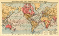 Archival map of the world  World map  33 x 20  door AncientShades, $48.00