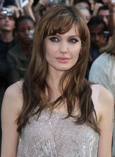 Angelina Jolie Tousled, Brunette Hairstyle with Bangs
