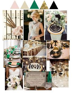 blush, champagne, emerald, gold, and black ... instead of emerald, succulent light green