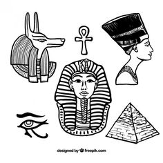 Hand drawn egyptian elements Free Vector