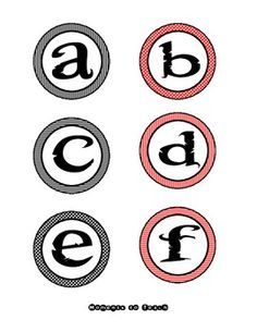 Red & Black Pirate ABC Labels - Circle
