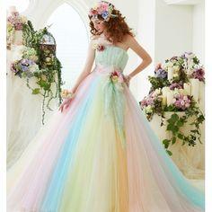 カクテルドレス - Page 4 of 12 - M Style Wedding Sweet 16 Dresses, Sweet Dress, Pretty Dresses, Beautiful Dresses, Rainbow Wedding Dress, Colored Wedding Dress, Vip Dress, Dress Up, Quinceanera Dresses