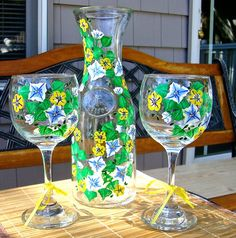 Hand Painted Wine Glasses and Carafe With Blue Flowers