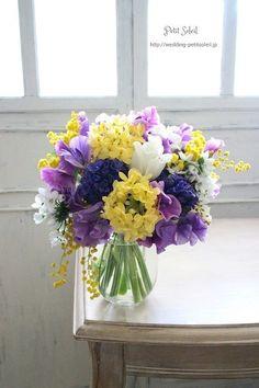 Yellow Bouquets, Purple Wedding Bouquets, Bridesmaid Flowers, Bridal Flowers, Flower Bouquet Wedding, Love Flowers, Beautiful Flowers, Purple Flowers, Bridesmaid Ideas