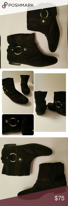 BuyOne GetOne %50 off sale! - black ankle booties from brand Nine West - inside and bottom of shoes say Nine West Vintage America Collection  - they are worn without tags or box but in amazing condition - size 7 - silver circle detailing on outer ankle of each boot Nine West Shoes Ankle Boots & Booties