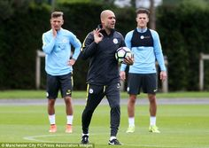 Pep Guardiola took his first ever training session at Manchester City on Tuesday morning...