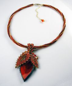 Beadweaving: Necklace with Stained Glass Leaf and by TheHighBead