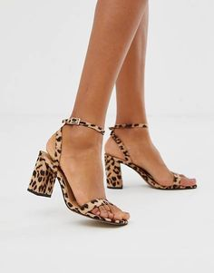 18e743bd1e2 ASOS DESIGN Hong Kong barely there block heeled sandals in leopard