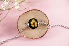 Stainless steel transparent resin bracelet real flowers | Etsy