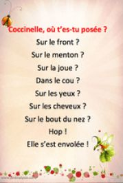 comptine printemps coccinelle French Teacher, Teaching French, What Is Parenting, Parenting Ideas, Nanny Activities, Childcare Activities, French Poems, French Nursery, Birthday Charts