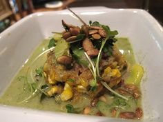 Thai Basil Corn Cake with Cranberry Beans and Green Curry Sauce
