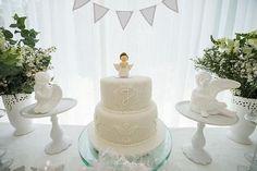 Cake from an Elegant White Baptism Dessert Table via Kara's Party Ideas | KarasPartyIdeas.com (11)