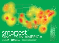 Match has created an interactive heat map showing the cities where you can find the smartest singles in America. Dating Women, Dating Advice For Men, Heat Map, Womens Health Magazine, Other Woman, Data Visualization, Online Dating, Health Tips, America America