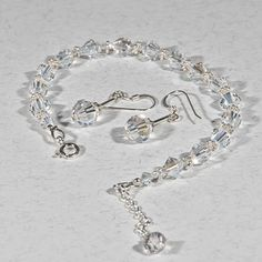 Crystal bracelet & earrings set, Swarovski jewellery set, Wedding set