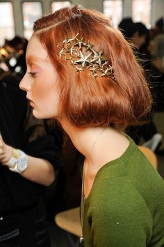 Codie Young backstage at Rodarte Fall 2012.