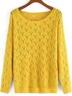 To find out about the Yellow Round Neck Dip Hem Knitwear at SHEIN, part of our latest Sweaters ready to shop online today! Yellow Long Sleeve Tops, Fendi Scarf, Loose Fitting Tops, Loose Tops, Cable Knit Jumper, Kurti Designs Party Wear, Yellow Sweater, Long Sleeve Sweater, Loose Sweater
