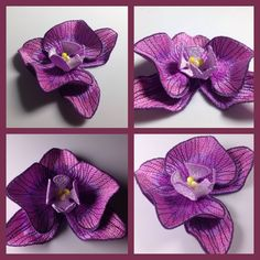 Orchid brooch 3D design machine embroidery