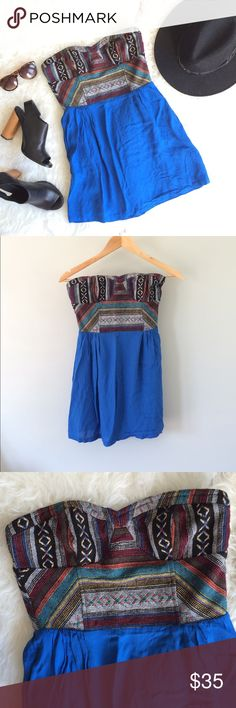 UO Tribal Tapestry Blue Minidress Beautiful, unique strapless minidress with amazing tribal tapestry detailing on the bustier top. Pair with a leather jacket and peep-toe booties for fall. Could also be worn as a tunic top over skinny jeans. Staring at Stars brand, an Urban Outfitters fave! Waist: 13in, waist to hem: 16.5in. Gently worn, great condition. Urban Outfitters Dresses Mini