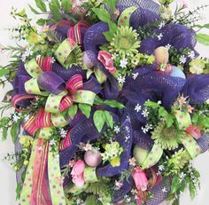 XL Deco Mesh Easter Wreath With Many Ribbons by LadybugWreaths, $199.97  http://www.LadybugWreaths.com
