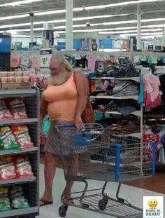 The Walmart chain has become the weirdest place on earth. Men normally wear ridiculous dresses at Walmart.Below are the images by Swishtoday of normal men who are wearing crazy outfits at Walmart while shopping leaving