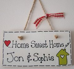 Personalised shabby chic HOME SWEET HOME wall plaque sign house warming gift
