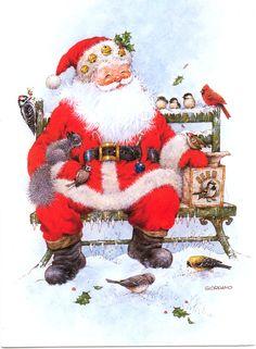 Winter birds with Santa by Giordano Christmas Scenes, Father Christmas, Retro Christmas, Santa Christmas, Christmas Holidays, Celebrating Christmas, Santa Pictures, Christmas Pictures, Christmas Artwork
