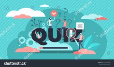 Quiz vector illustration. Flat tiny brain game play process persons concept. Erudition puzzle and fun riddle as leisure, entertainment and mental task. Intelligence examination and solution finding. #Ad , #Aff, #play#game#process#concept