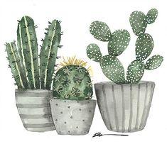3 Cactus in pots original watercolor painting Cactus Painting, Plant Painting, Cactus Art, Plant Art, Cactus Decor, Plant Illustration, Watercolor Illustration, Watercolor Plants, Watercolor Paintings