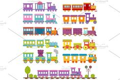 Toy train different cartoon vector illustration. by RocketArt on @creativemarket