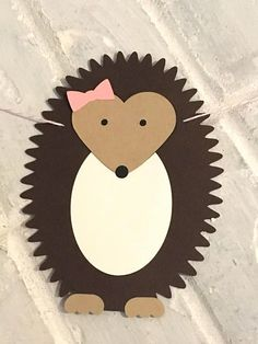 Kinderspiele Hedgehog Banner with Bow -- Woodland, Baby Shower, Nursery, Birthday Party, Cute Crafts, Fall Crafts, Halloween Crafts, Quick Crafts, Hedgehog Birthday, Hedgehog Craft, Valentine Crafts For Kids, Valentines, Girl Nursery Themes