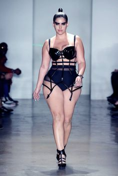 #DeniseBidot in the #Chromat Patent Cage Dress at #NYFW #PlusSize