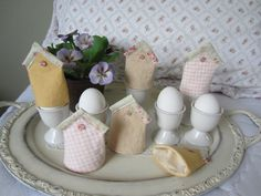 EASTER EGG COZIES BiRDHOUSE SeT Of SiX FrEE UsA SHiPPing. $30.00, via Etsy.