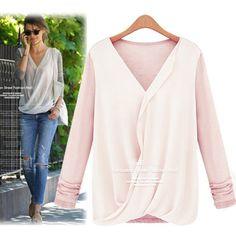 New Stitching Knitted Chiffon Fashion Shirt Women s Long Sleeve V-neck Blouse