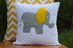 Grey and Yellow Elephant Pillow.