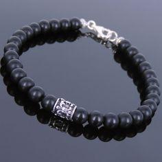 Matte Black Onyx Sterling Silver Bracelet Mens Women Gemstone 925 DIY-KAREN 143 in Jewelry & Watches, Handcrafted, Artisan Jewelry, Bracelets | eBay