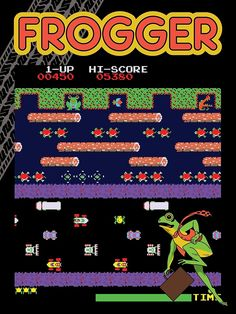 'Frogger the Classic Arcade Video Game' Canvas Print by Jamie Cross - Minecraft, Pubg, Lol and More 2020 80s Video Games, Video Game Posters, Video Game Rooms, Classic Video Games, Video Game Art, 80s Posters, Vintage Videos, Vintage Video Games, Vintage Games
