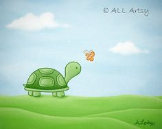 New Friends Series - Turtle Meets Butterfly matted 5x7 painting print - wall art