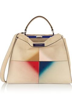 FENDI Peekaboo large patent leather-trimmed suede tote  US$4,850.00 https://www.net-a-porter.com/products/606190