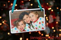 Take a picture every Christmas Eve (in pajamas!) and turn it into an ornament.  Cute idea!  #keepsake ornaments #Harvard Homemaker
