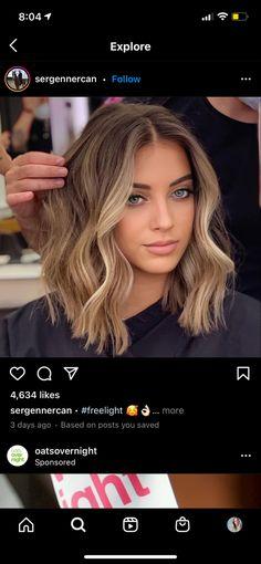 Hair Color For Women, Hair Color And Cut, Brown Hair Balayage, Hair Highlights, Medium Hair Styles, Short Hair Styles, Corte Bob, Summer Haircuts, Brunette Hair