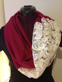 Mary's Crafts & Quilts: Easy DIY lace infinity scarf How To Wear Lace Clothing Lace is a complet Diy Clothing, Sewing Clothes, Sewing Dolls, Look Fashion, Diy Fashion, Unique Fashion, Fashion Ideas, Sewing Hacks, Sewing Projects