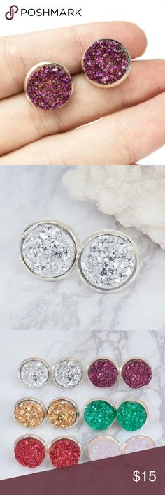 New! Druzzy Stone Stud Earrings! Brand New Druzzy Stone Stud Earrings!  Stunningly gorgeous, sparkly, and perfect for the holidays! Simulated stones, silver plated, alloy metals. The perfect stocking stuffer or bundle & save item!  Comes with an extra set of backs, just in case. WILA Jewelry Earrings