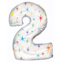 Number Two Shape 46 Inch Multi Colored Sparkles Mylar Balloon Number Balloons, Mylar Balloons, Confetti Balloons, Latex Balloons, Stick Centerpieces, Bargain Balloons, Candle Favors, Number Two, Photo Booth Props