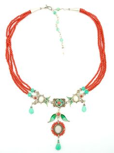 """Necklace ~   Silver, enamel, opal, chrysoprase & coral. 15"""" with 3"""" extender"""