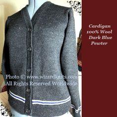 Prisoner of Azkaban© styled cardigan sweater in a Miss Medium.  Blue/Dove Gray House trim.  100% wool.