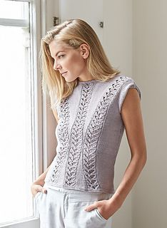 """From KnitRowan.com website: """"This sleeveless ladies summer top was designed by Lisa Richardson using our 100% cotton Summerlite DK. It has a boat neck and minimal trims and the front features clever travelling lace panels, making it suitable for the more experienced knitter."""""""