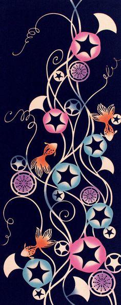 Japanese Tenugui cotton towel fabric. Goldfish + morning glory design. High quality tenugui fabrics made of soft 100% cotton cloth and hand