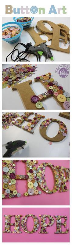 letras decorativas con botones de colores