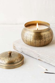 Moroccan Embossed Metal Candle